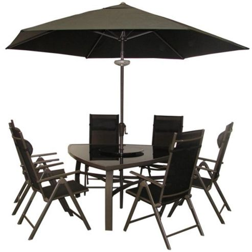 Buy Billyoh Luxor Black Premium Triangular 6 Seater Reclining Metal Garden Furniture Set 3m