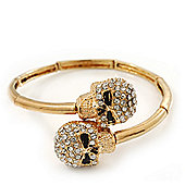 Clear Swarovski Crystal 'Double Skull' Flex Bangle Bracelet In Gold Plating - Adjustable