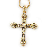 Pearl and Swarovski Crystal Vintage Style 'Fleur de Lis' Cross Pendant Necklace In Gold Plating - 36cm Length/ 8cm Extension