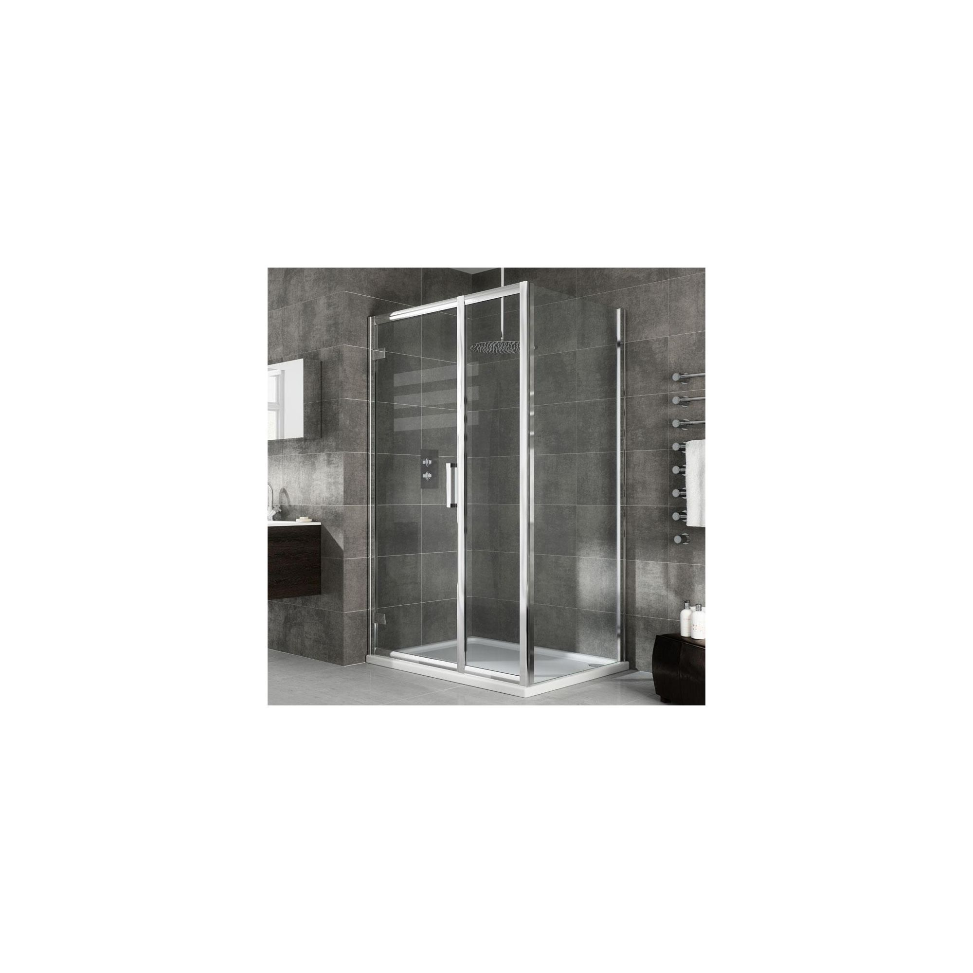 Elemis Eternity Inline Hinged Door Shower Enclosure, 1400mm x 900mm, 8mm Glass, Low Profile Tray at Tesco Direct