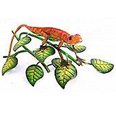 Gecko - Metal Lizard On Leaf Ornament - Red / Green