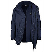 Glacier Mens 3 In 1 Hooded Waterproof Breathable Rain Jacket Coat - Blue