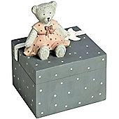 Childrens Teddy Bear Money Box - Grey / Pink