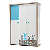 NewJoy Blue Bunny 3 Door Children s Wardrobe
