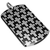 Urban Male Two Colour Thick Dog Tag Style Cross Pendant