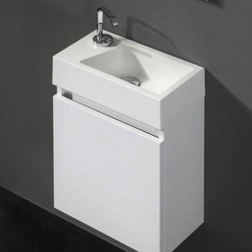 Buy prestige paris wall mounted cloakroom vanity unit for Bathroom cabinets 400mm wide