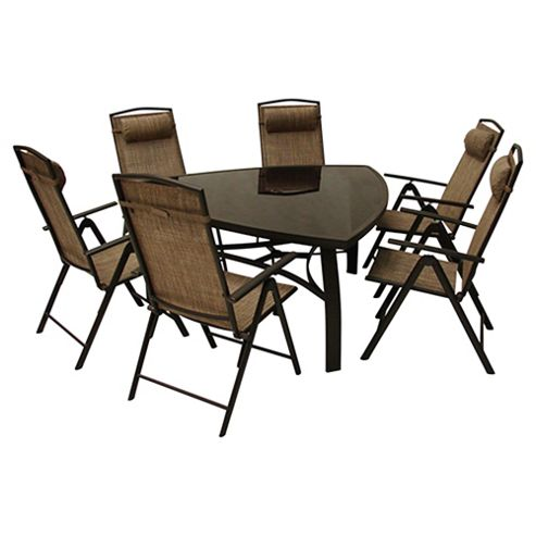 Monaco 150cm Triangular Glass Table & 6 Recliner Dining Set - Brown
