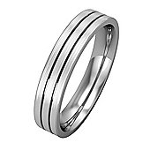 Jewelco London Platinum - 4mm Essential Flat-Court Band Striped with Satin Finished Edges Commitment / Wedding Ring -