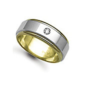 9ct Yellow & White Gold 8mm 2-Piece Flat Diamond set 10pts Solitaire Wedding / Commitment Ring