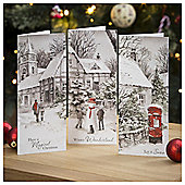 Tesco Warm Village Scenes Christmas Cards, 24 Pack