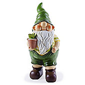 Cameron the Busy Gardening Gnome Ornament with Flowerpot