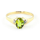 QP Jewellers Diamond & Peridot Oval Desire Ring in 14K Gold