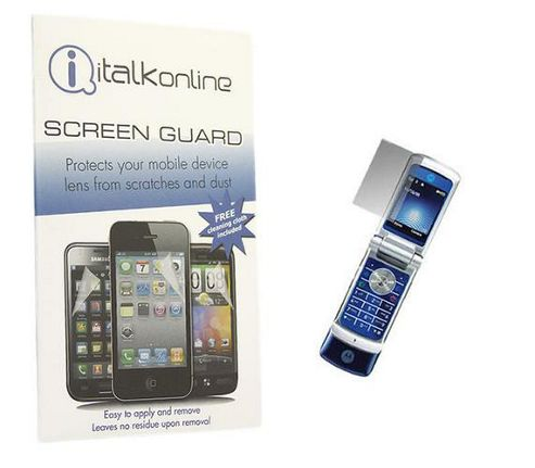 iTALKonline S-Protect LCD Screen Protector and Micro Fibre Cleaning Cloth - For  Motorola KRZR K1