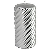 Swirl Pillar Candle Silver