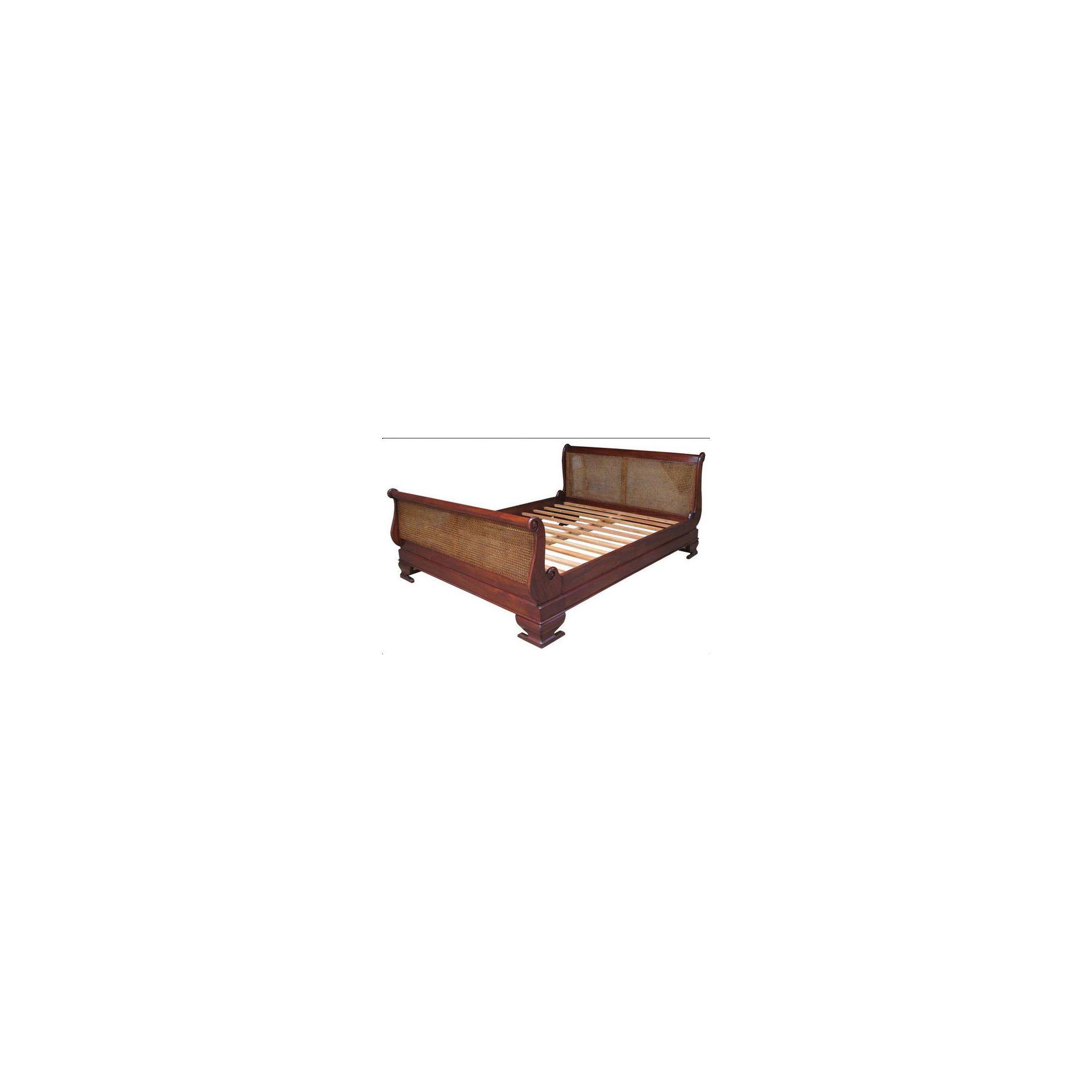 Lock stock and barrel Mahogany Rattan Sleigh Bed in Mahogany - Wax - King at Tesco Direct
