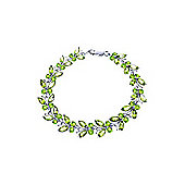 QP Jewellers 7in 16.50ct Peridot Butterfly Bracelet in 14K White Gold