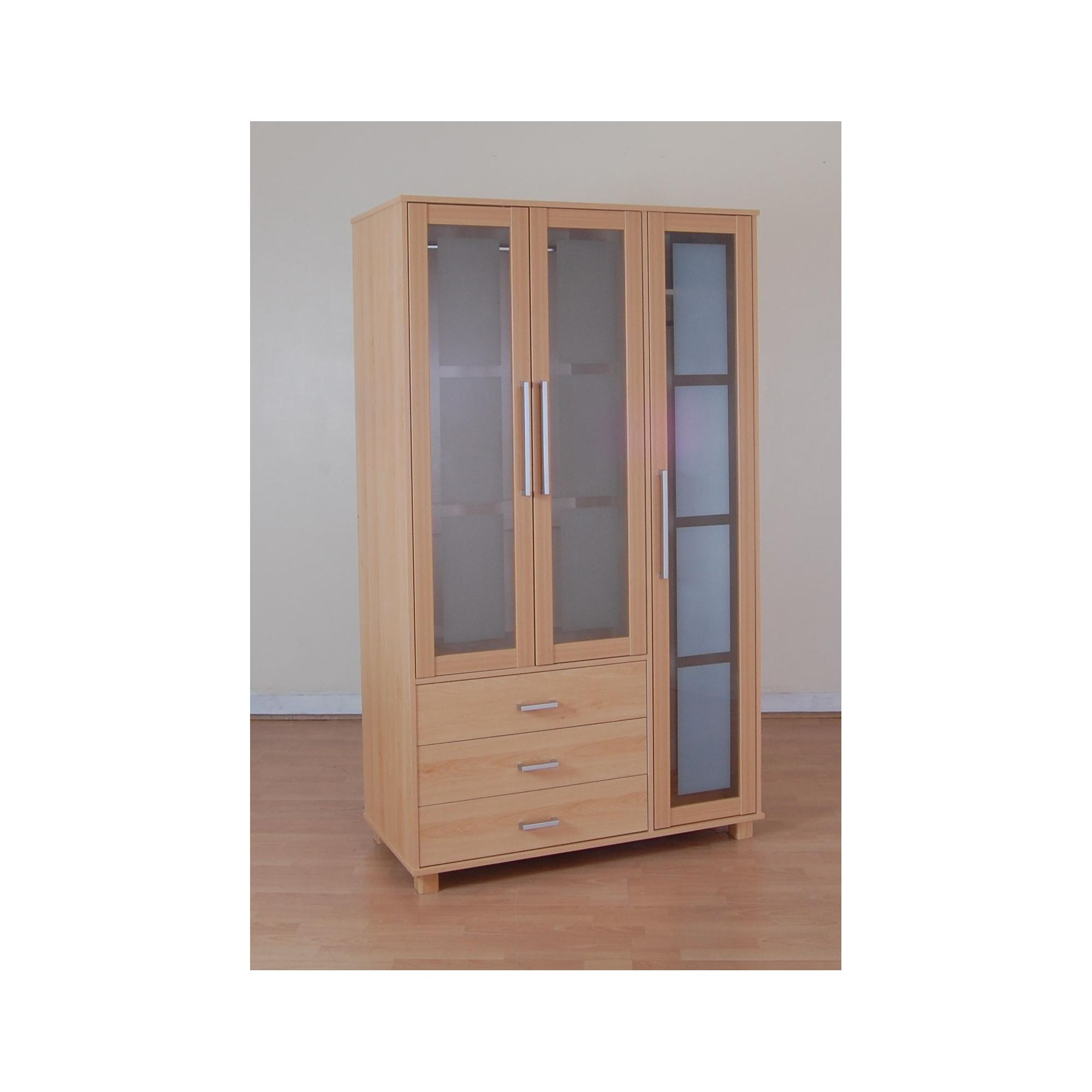 Kit Form Kit-form Glass Three Door and Three Drawer Wardrobe in Beech at Tesco Direct