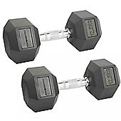 Confidence Fitness 2 X 12.5Kg Anti-Roll Hex Rubber-Coated Cast Dumbbells Weights