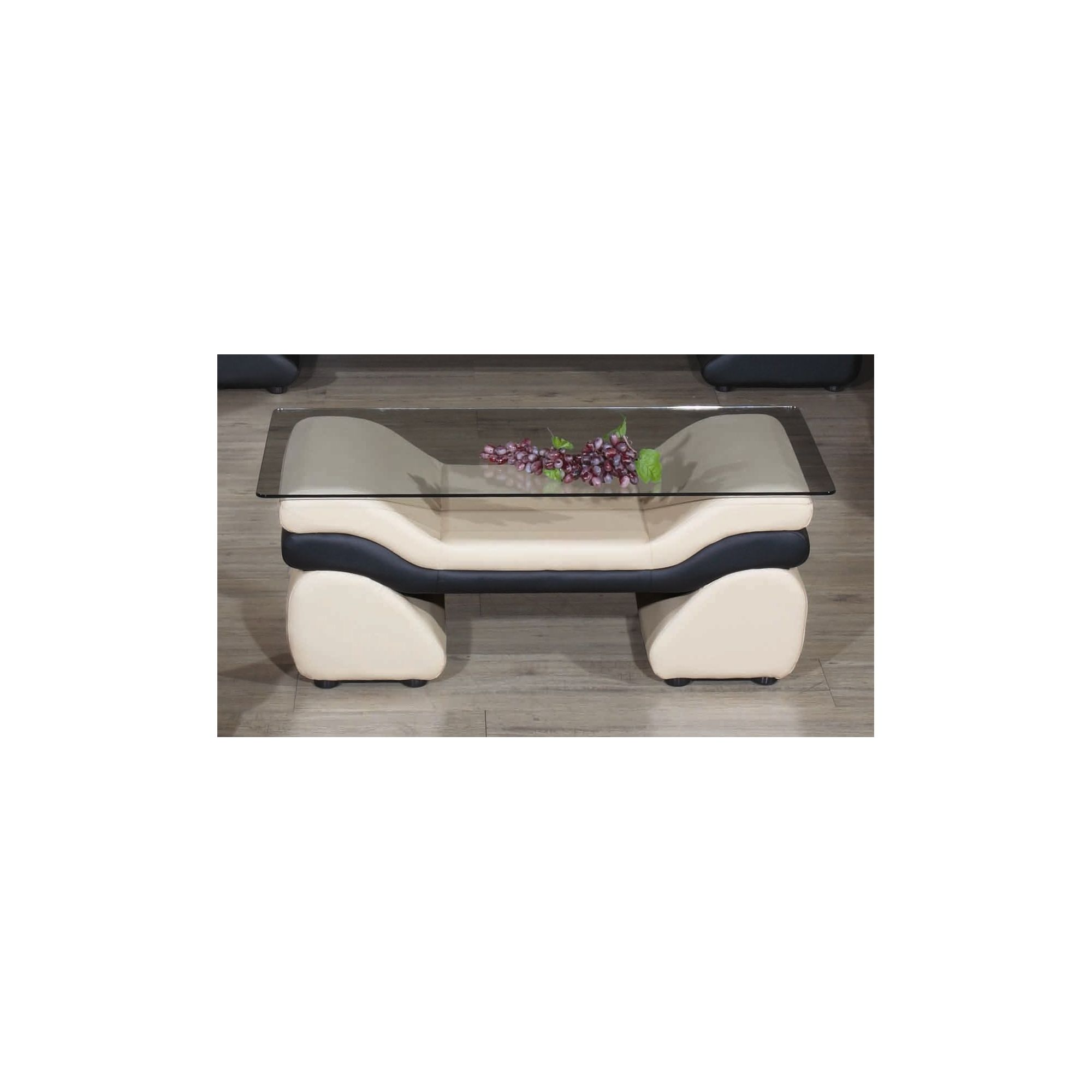 JPL Furniture Miami Coffee Table - Rose White / Black at Tesco Direct