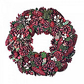 Red Pine Cone Seasonal Wreath with White Berry & Acorn Feature - Large