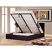 Ottoman Stylish Brown Faux Leather Gaslift Storage 4ft6 Double Bed Frame