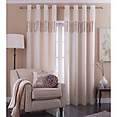 Catherine Lansfield Home Silk Sequin Cream Curtains 66x90
