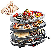 VonShef 8 Person 3 in 1 Stone Raclette Grill - 1500W with 8 Spatulas