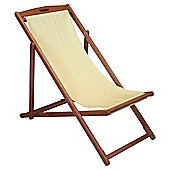 Tesco Wooden Deck Chair, Yellow