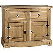 Corona Mexican Distressed Waxed Pine 2 Door 2 Drawer Sideboard Buffet Unit