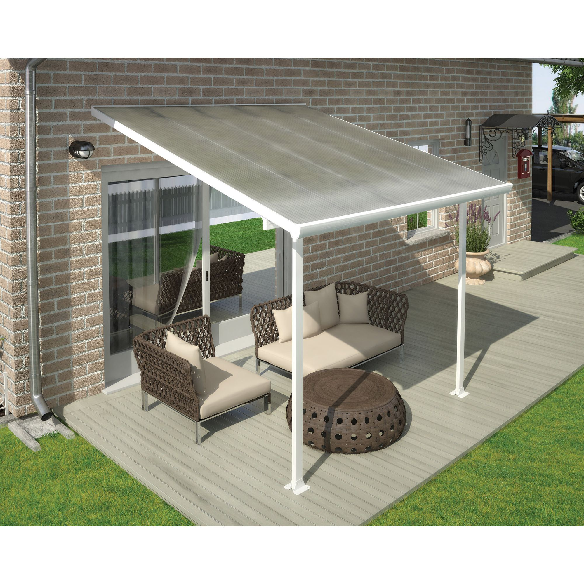 FERIA LEAN TO CARPORT AND PATIO COVER 3X3 WHITE at Tesco Direct