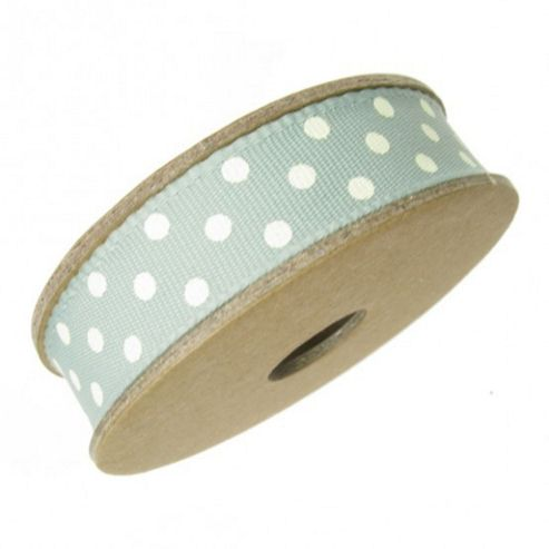 Ribbon Reel - Dotty Pale Turquoise with Cream