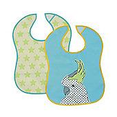Baby K Bird and Star Crumbcatcher Bibs- 2 Pack