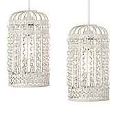 Pair of Ornate Birdcage Ceiling Pendant Light Shades in Cream
