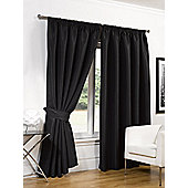 "Dreamscene Faux Silk Blackout Curtains With Tiebacks Black - 90""X90"""