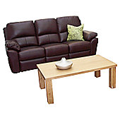 Furniture Link Monzano Three Fixed Seat Sofa in Chestnut - Ivory