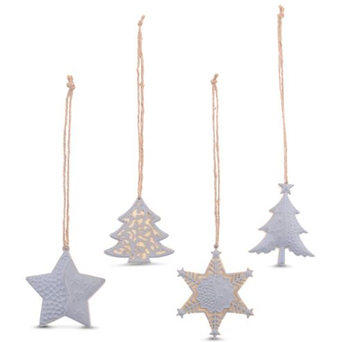 Set of Four Wood & Metal Traditional Christmas Tree Decorations