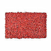 Homescapes Dallas Leather Shaggy Rug Red, 120 x 180 cm