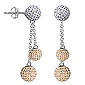Jewelco London Sterling Silver Crystal Champagne Peach + White Shamballa Earrings - 6mm & 8mm