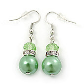 Lime Green Glass Pearl, Crystal Drop Earrings In Rhodium Plating - 40mm Length