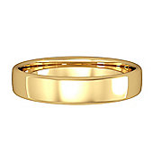 Jewelco London 9ct Yellow Gold - 4mm Essential Bombe Court-Shaped Band Commitment / Wedding Ring -