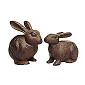 Pair of Cast Iron Rabbit Garden Ornaments