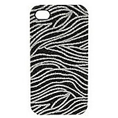 Tortoise™ Look Hard Case iPhone 4/4S Glitter Zebra Black/Silver.