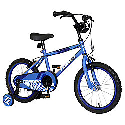 "Terrain 14"" Kids' Bike with Stabilisers, Blue"