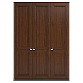 Adria Walnut Triple Wardrobe With Walnut Shaker Doors