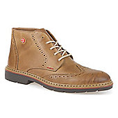 Rieker Brogue Leather Ankle Boot - Tan