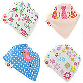 Zippy Girls Cool Bandana Dribble Bibs, 4 pack, one size