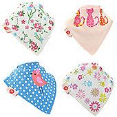 Zippy Girls Cool Bandana Dribble Bibs, 4 pack, one size