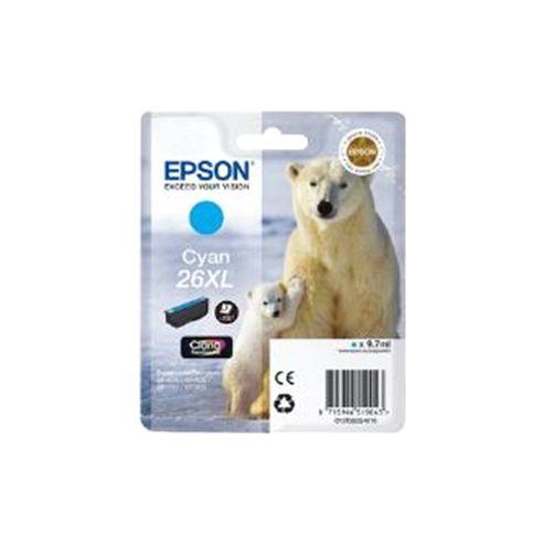 Epson Polar Bear 26XL Cyan Claria Premium Ink Cartridge (RF) for Expression Premium XP-600/XP-605/XP-700/XP-800 All-in-One Inkjet Printers