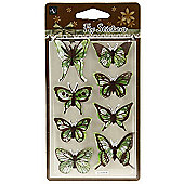 Floral Butterfly Stickers - Green/Brown
