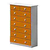 6 + 2 Chest of Drawers in White and Orange